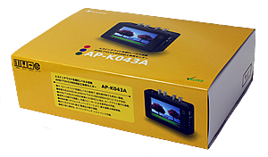 AHD/TVI 監視カメラ工事用モニター(AP-K043A)外箱イメージ