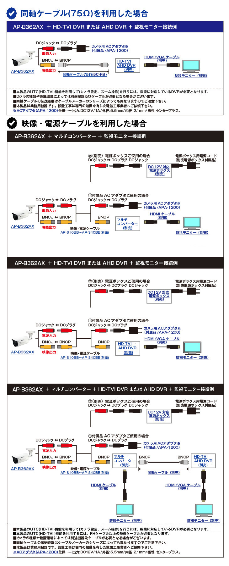 HD-TVI 213万画素防犯カメラ(AP-B362AX)