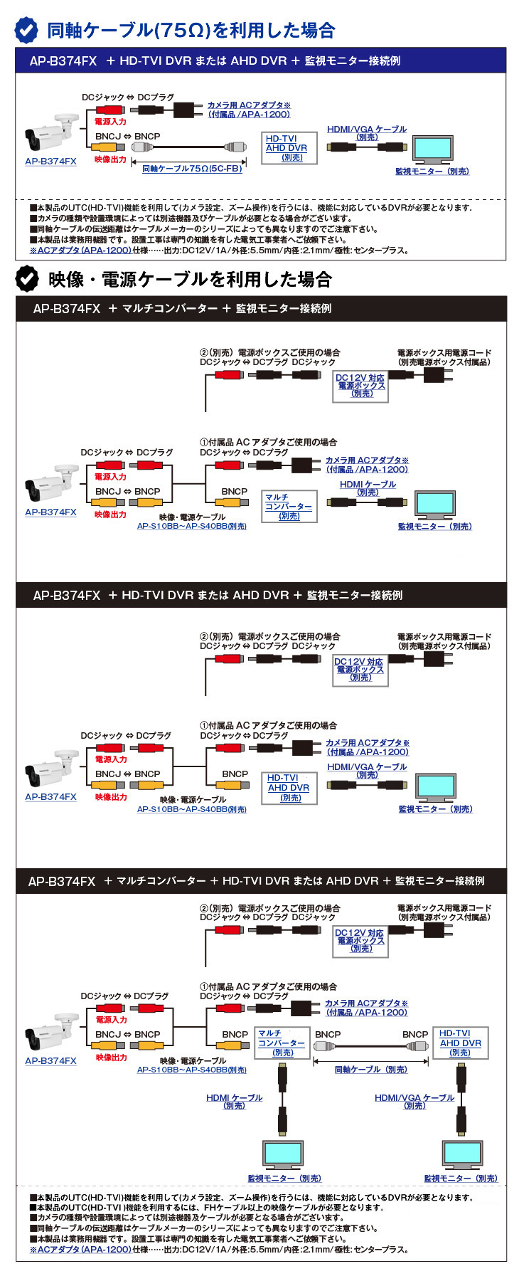 HD-TVI 514万画素防犯カメラ(AP-B374FX)