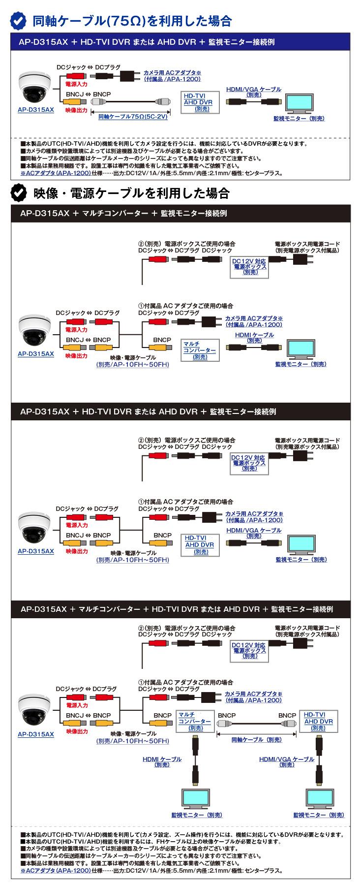 HD-TVI/AHD 213万画素屋内赤外線ドーム型防犯カメラ【AP-D315AX】