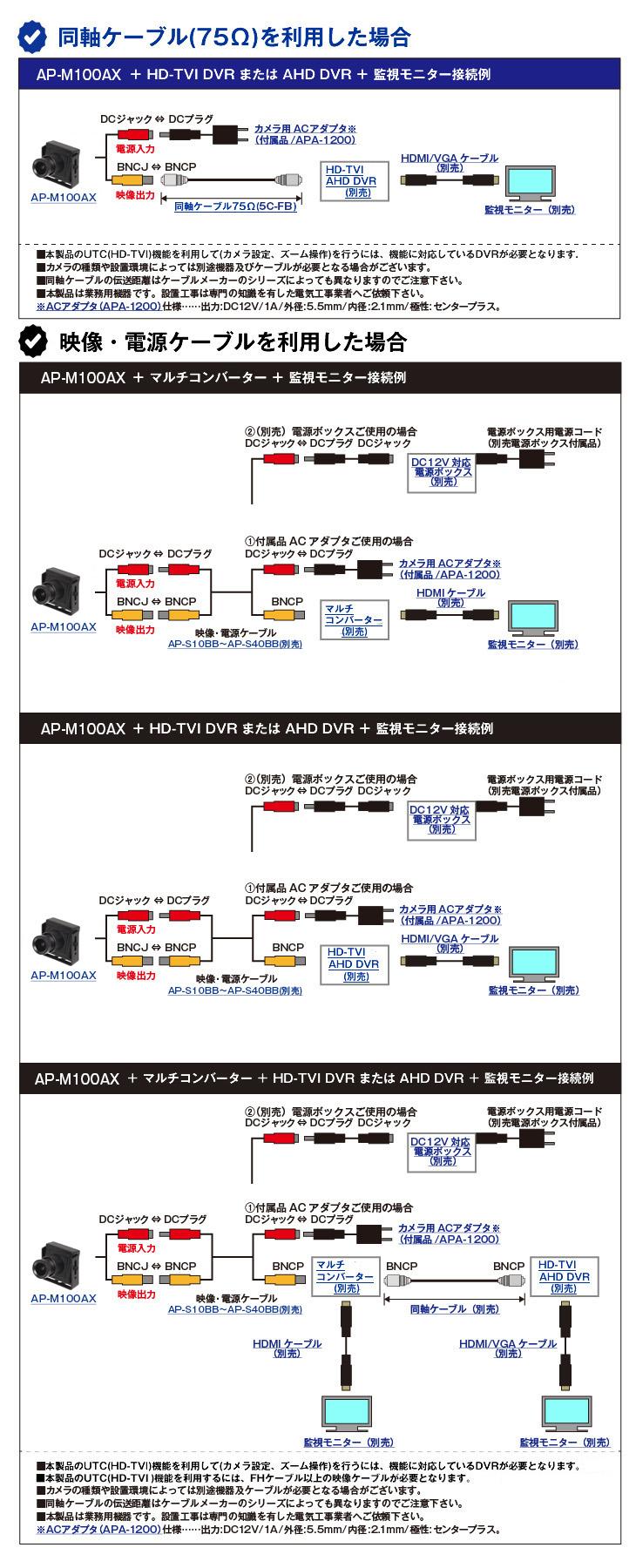 AHD 200万画素小型防犯カメラ(AP-M100AX)
