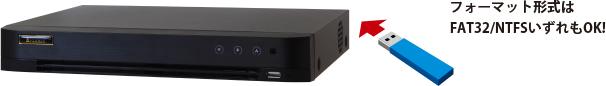 外部USBデバイスの対応フォーマット形式は、FAT32とNTFSです。