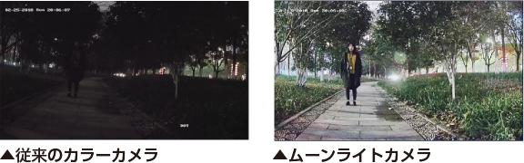 夜間屋外、自然光でのムーンライトカメラと従来のカメラの撮影比較